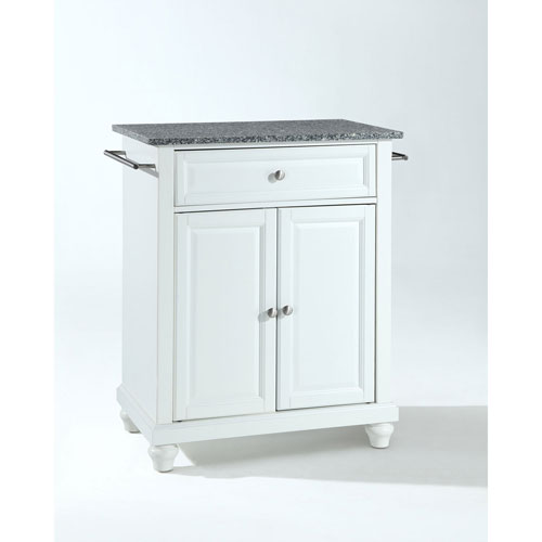 251 First Selby Solid Granite Top Portable Kitchen Island in White Finish