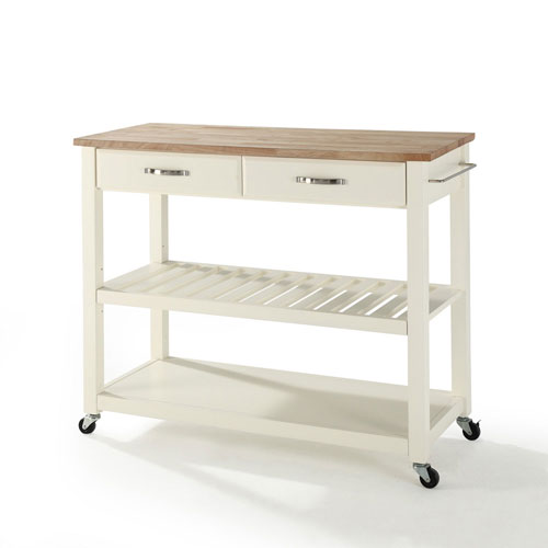 Grace Natural Wood Top Kitchen Cart/Island in White Finish
