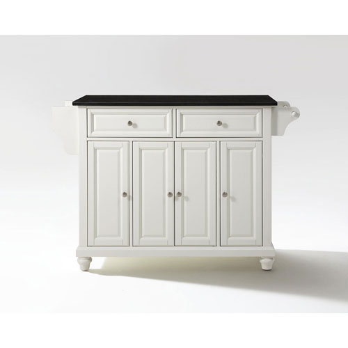 251 First Selby Solid Black Granite Top Kitchen Island in White Finish