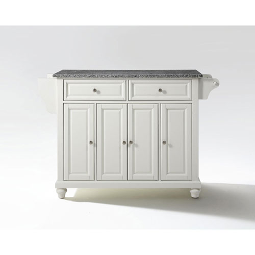 Selby Solid Granite Top Kitchen Island in White Finish