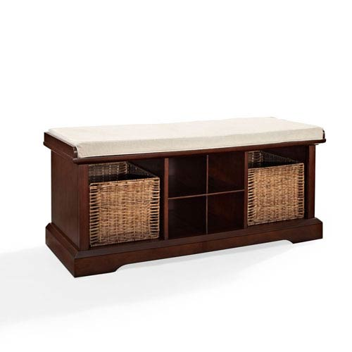 Hayden Mahogany Entryway Storage Bench