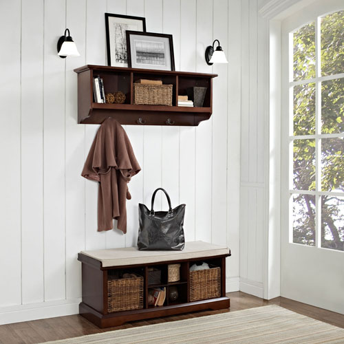 Hayden Mahogany Two Piece Entryway Bench and Shelf Set