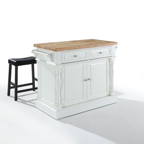 251 First Grace Butcher Block Top Kitchen Island in White Finish with 24-Inch Black Upholstered Saddle Stools