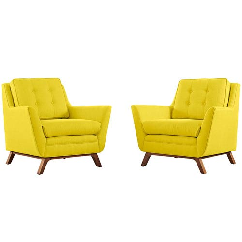 Loring 2 Piece Fabric Living Room Set in Sunny