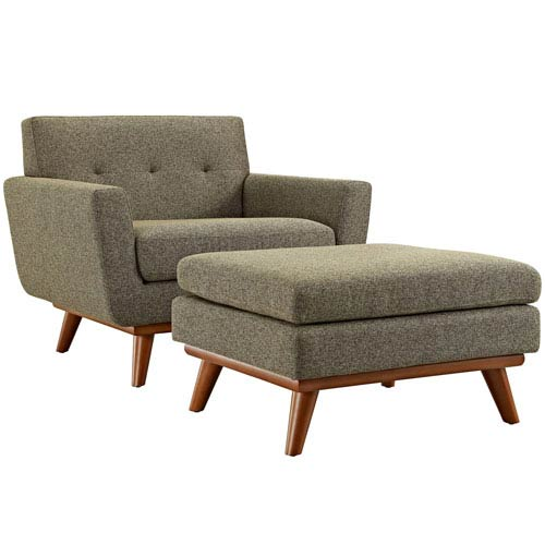 251 First Uptown 2 Piece Armchair and Ottoman in Oatmeal