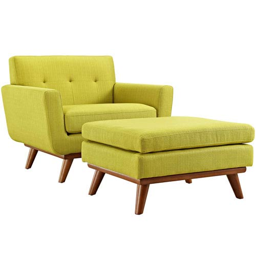 251 First Uptown 2 Piece Armchair and Ottoman in Wheatgrass