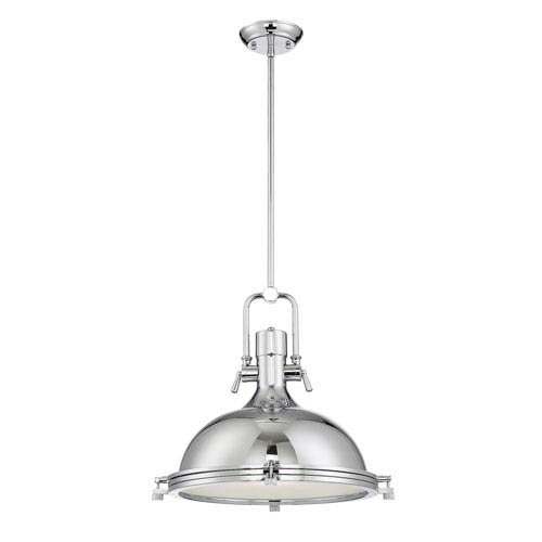 River Station Chrome 18-Inch One-Light Dome Pendant