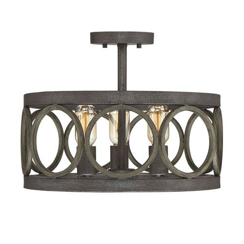 Fulton Fossil Stone and Aged Wood Three-Light Semi-Flush Mount