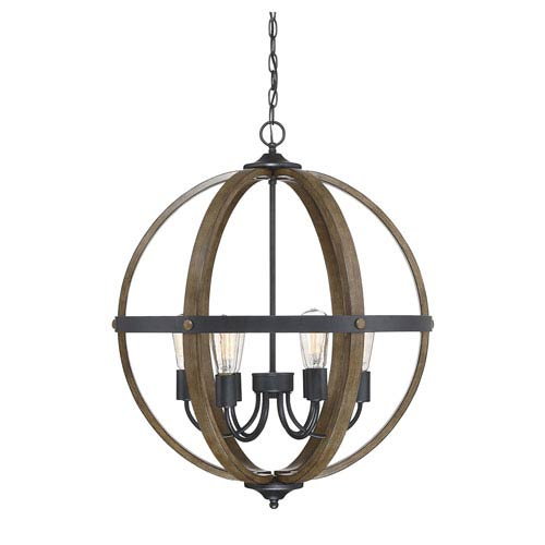 Fulton Wood and Black Six-Light Globe Pendant