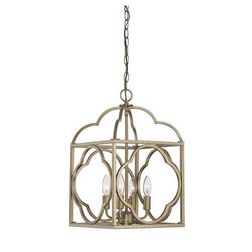 Whittier Natural Brass Four-Light Lantern Pendant