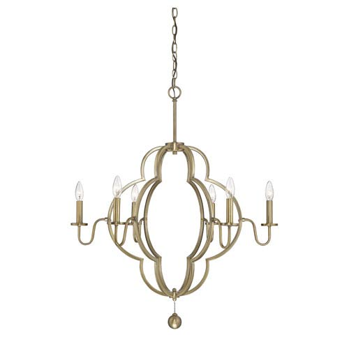 Linden Natural Brass Six-Light Chandelier