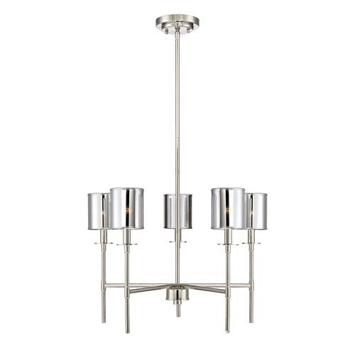 Contemporary chandeliers bellacor nicollet polished nickel five light chandelier aloadofball Images