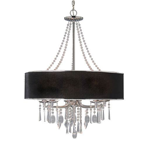Vivian Chrome Five-Light Chandelier with Tuxedo Shade