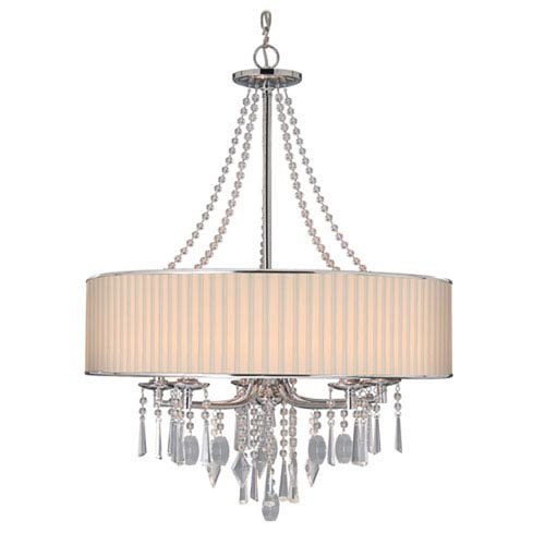 Vivian Chrome Five-Light Chandelier with Bridal Veil Shade