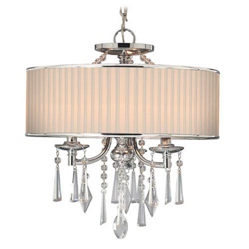 Vivian Chrome Three-Light Convertible Semi-Flush Mount with Bridal Veil Shade