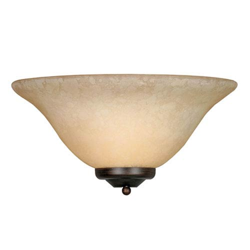 Wellington Rubbed Bronze One-Light Wall Sconce with Tea Stone Glass