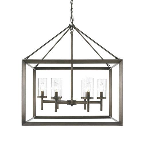 251 First Linden Gunmetal Bronze Six-Light Chandelier with Clear Glass