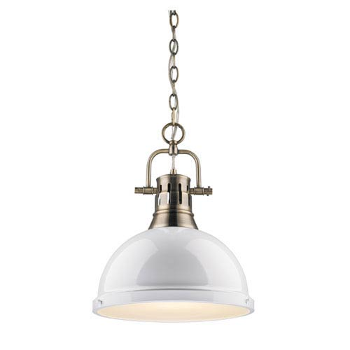 Quinn Aged Brass 14-Inch One-Light Pendant with White Shade
