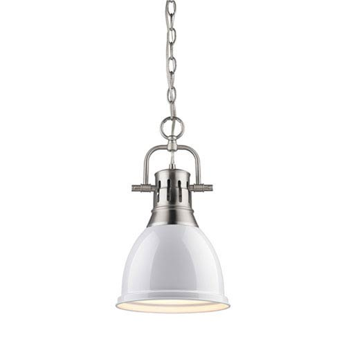 Quinn Pewter 9-Inch One-Light Mini Pendant with White Shade