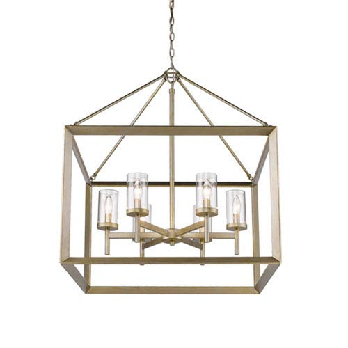 Linden White Gold Six-Light Chandelier with Clear Glass Shade