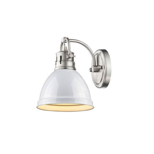 251 First Quinn Pewter One-Light Vanity Fixture with White Shade