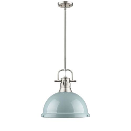 Quinn Pewter One-Light Pendant with Seafoam Shade