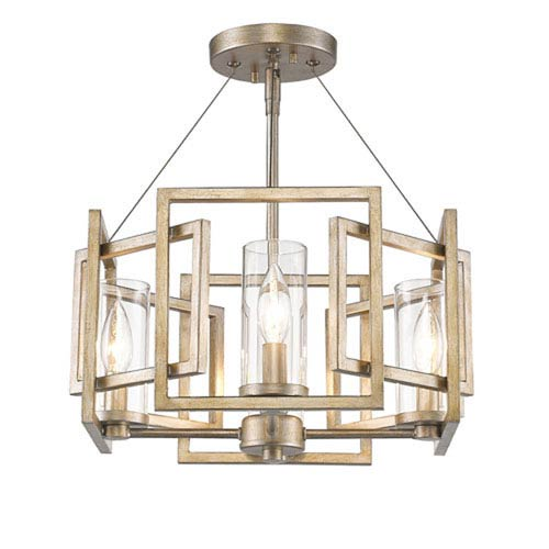 Linden White Gold Four-Light Semi-Flush Mount with Clear Glass Shade