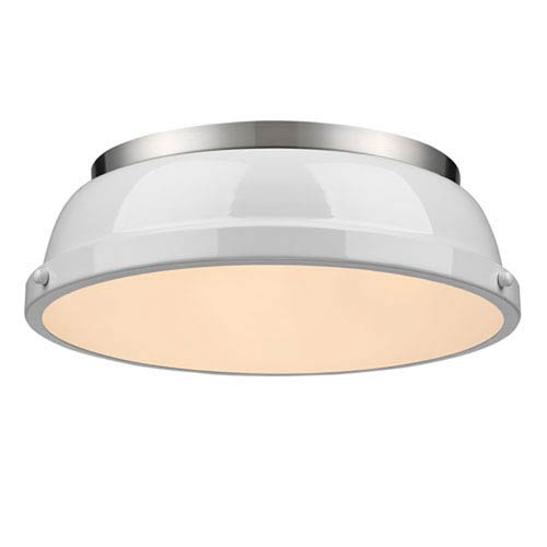 Quinn White and Pewter Two-Light Flush Mount