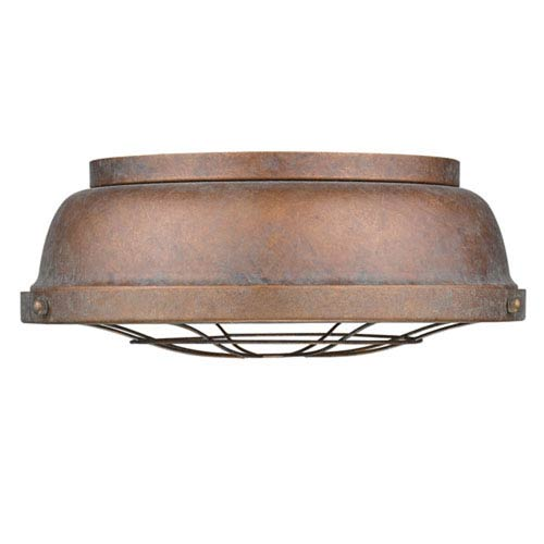 Fulton Copper Patina Two-Light Cage Flush Mount