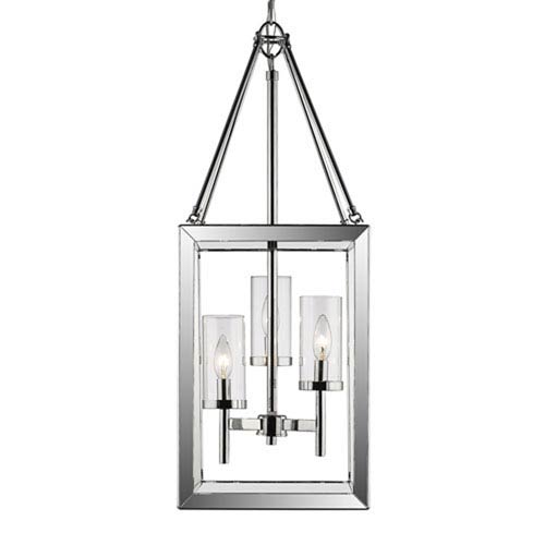 251 First Linden Chrome Three-Light Pendant with Clear Glass