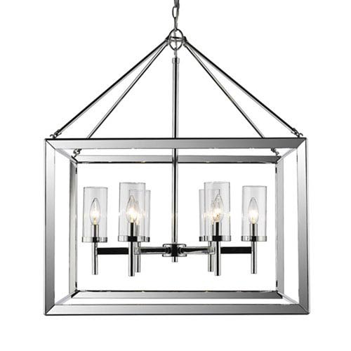 Linden Chrome Six-Light Chandelier with Clear Glass