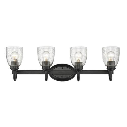 Hayden Black Four-Light Bath Vanity with Seeded Glass