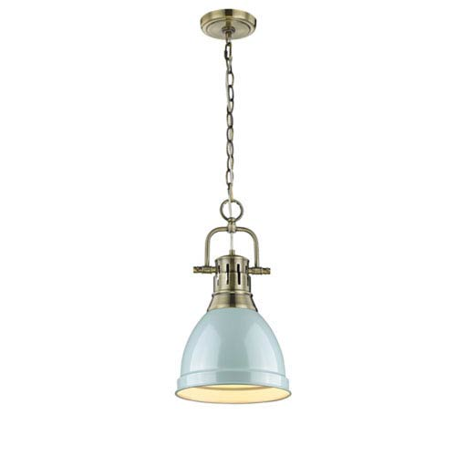 251 First Quinn Aged Brass One-Light Mini Pendant with Seafoam Shade