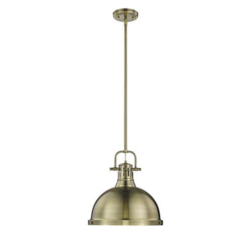 Quinn Aged Brass One-Light Pendant with Aged Brass Shade