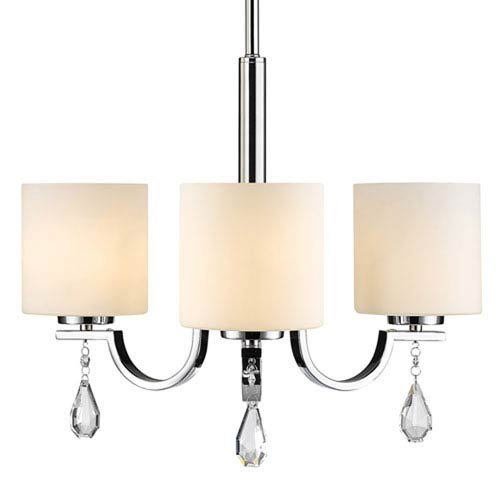 Cooper Chrome Three-Light Chandelier with Opal Glass