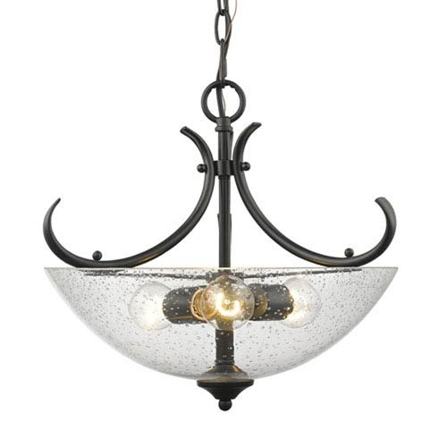 Hayden Black Three-Light Semi-Flush Mount with Seeded Glass