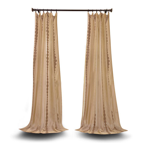 251 First Vivian Gold 96 x 50-Inch Embroidered Sheer Curtain