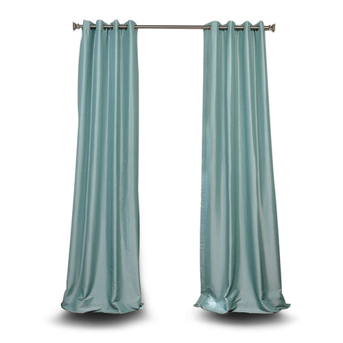 251 First Monroe Light Blue 84 x 50-Inch Grommet Blackout Faux Silk Taffeta Curtain Single Panel