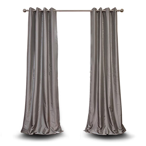 Monroe Platinum 84 x 50-Inch Grommet Blackout Faux Silk Taffeta Curtain Single Panel