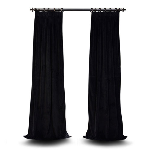 Evelyn Warm Black 108 x 25-Inch Evelyn French Pleated Blackout Velvet Curtain