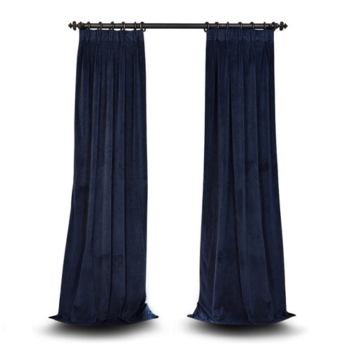 251 First Evelyn Midnight Blue 120 x 25-Inch Evelyn French Pleated Blackout Velvet Curtain