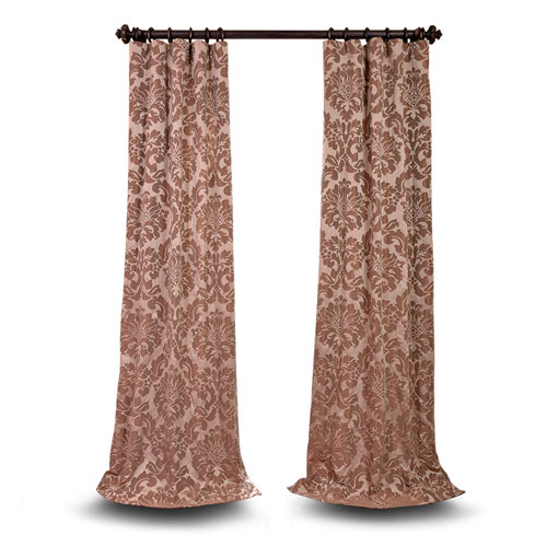 Wellington Taupe and Mushroom  96 x 50 In. Faux Silk Jacquard Single Panel Curtain