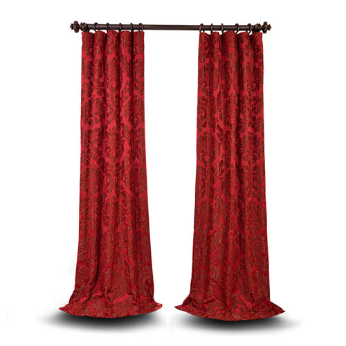 251 First Wellington Red and Bronze 120 x 50 In. Faux Silk Jacquard Single Panel Curtain