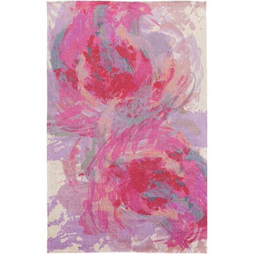 251 First Monroe Hot Pink and Lavender Rectangular: 5 Ft x 7 Ft 6 In Rug