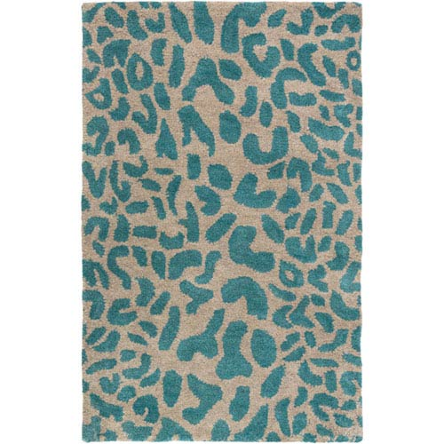 251 First Cooper Olive and Teal Rectangular: 2 Ft x 3 Ft Cheetah Print Rug