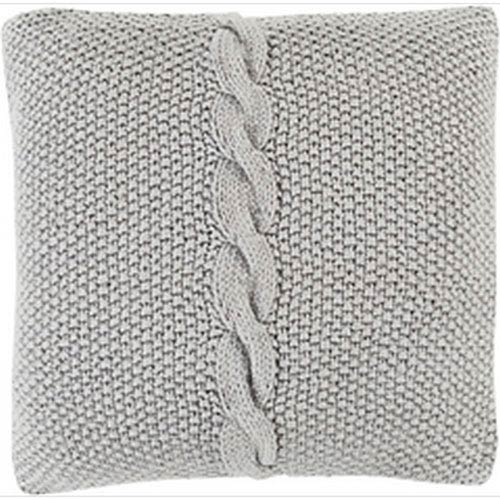 Quinn Classic Cable Knit Ivory 20-Inch Pillow with Poly Fill
