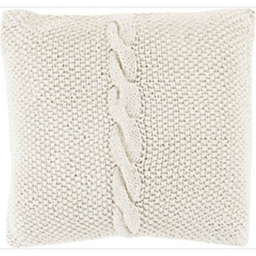 Quinn Classic Cable Knit Khaki 20-Inch Pillow with Poly Fill