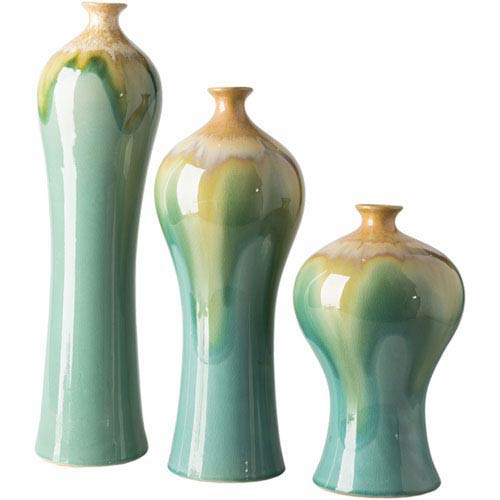 Evelyn Turquoise and Orange Vase Set