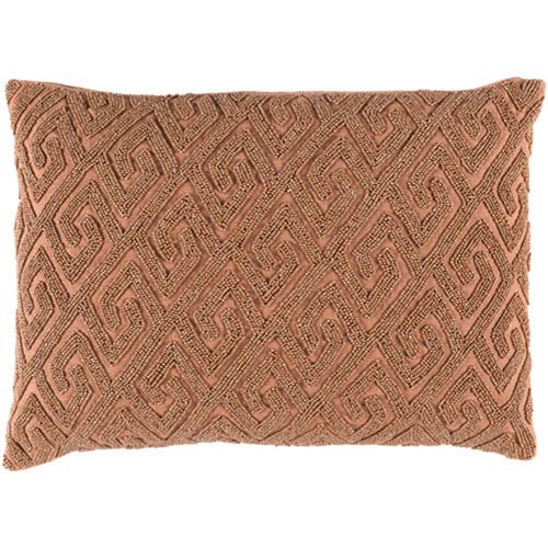 251 First Wellington Mocha and Rust 13 x 19-Inch Pillow with Poly Fill