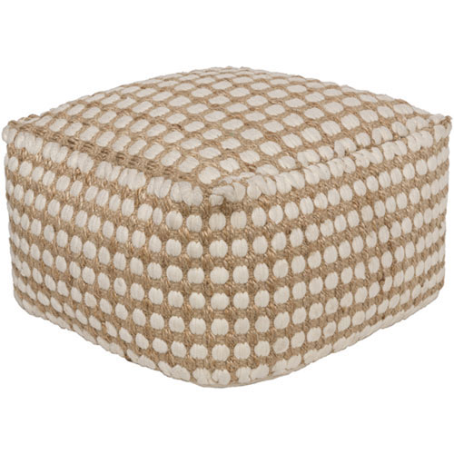 Quinn White and Khaki Pouf